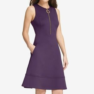 DKNY Womens Purple Zippered Fit & Flare Cocktail P